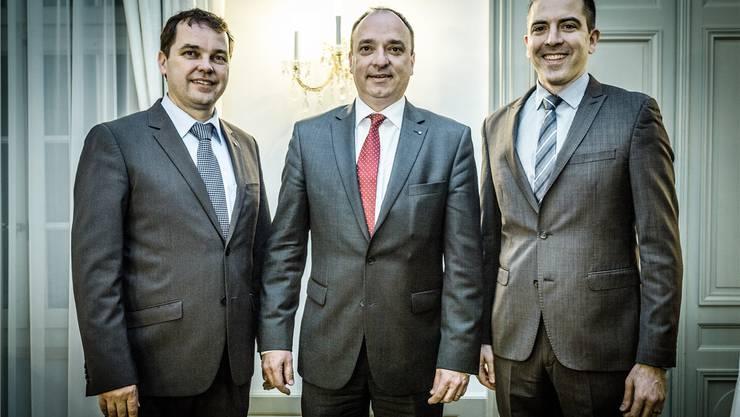 In offizieller Mission für den Kanton Aargau: Daniel Brändli, Leiter Abteilung Strategie und Aussenbeziehungen, Grossratspräsident Markus Dieth sowie Matthias Schnyder, Leiter der Sektion Aussenbeziehungen.