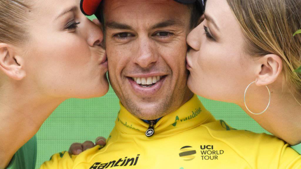 Der Australier Richie Porte (im Bild bei der Siegerehrung) löste Stefan Küng nach der 5. Etappe als Leader der Tour de Suisse ab