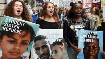 Demonstrantinnen am Marsch für die Rechte der Flüchtlinge in London.