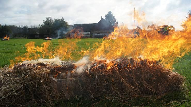 Flächenbrand auf dem nahen Felde.