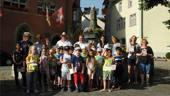Eine Schulklasse machte sich am Dienstag auf, um die Löwen beidseits des Rheins zu suchen. mf