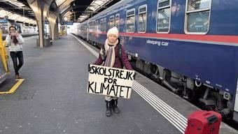 Letztes Jahr machte Greta auf dem Weg ans WEF in Zürich nur kurz Zwischenstation am Hauptbahnhof.