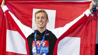 Jérémy Desplanches, Europameister über 200 m Lagen, nach der Medaillenzeremonie in Glasgow