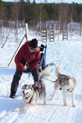 Im Schnee mit Ayka und Cayenne.