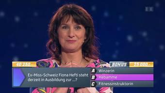 Ausschnitt aus der Sendung: Andrea Baumann gewinnt am Montagabend 65'250 Franken bei «1 gegen 100»