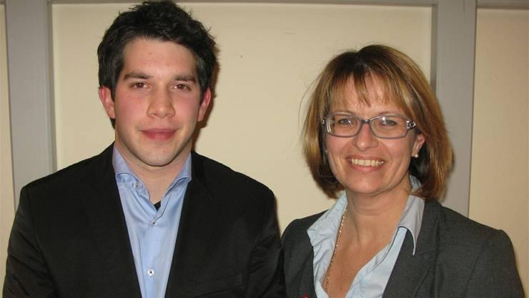 Tobias Bolliger kandidiert für die Jungliberalen, Karin Büttler-Spielmann für die FDP.