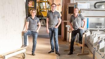 Die vierte Generation der von Rohr Holzbau AG steht bereit (v. l.): Nadja Grolimund- von Rohr, Andreas von Rohr und Remo von Rohr.