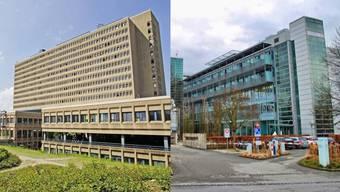 Das Kantonsspital Baden (links) und die Hirslanden Klinik Aarau