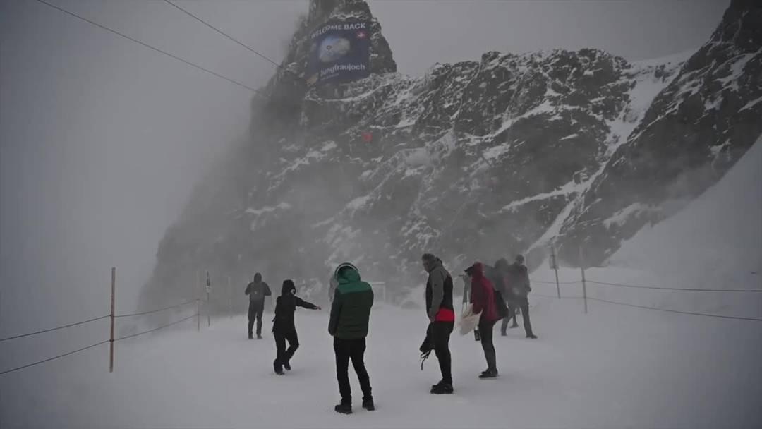 Stürmischer Empfang auf dem Jungfraujoch