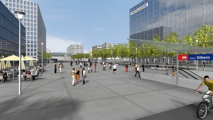 So könnte der Bereich um die S-Bahn-Station in Dietikon Silbern dereinst aussehen. (Visualisierung)