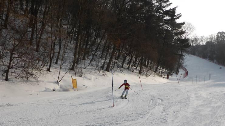 Ein koreanischer Nachwuchsathlet arbeitet an seinen Slalomkünsten.
