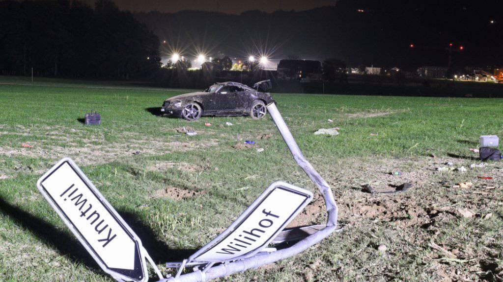 Ein Auto landete nach dem Überholen in Winikon LU in der Wiese - der Lenker verletzte sich leicht.