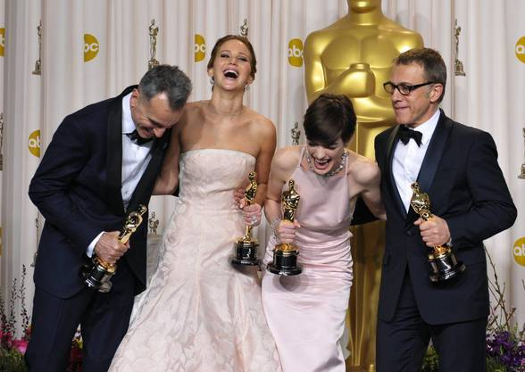 Daniel Day-Lewis («Lincoln»), Jennifer Lawrence («Silver  Linings Playbook»), Anne Hathaway («Les Miserables») und Christoph Waltz («Django Unchained»).