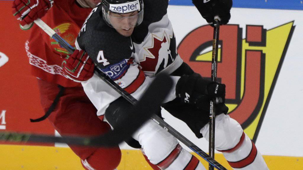 Kanadas Verteidiger Tyson Barrie, hier im Puckbesitz beim 6:0-Sieg gegen die Weissrussen, scheut das Körperspiel auch im Hotel nicht