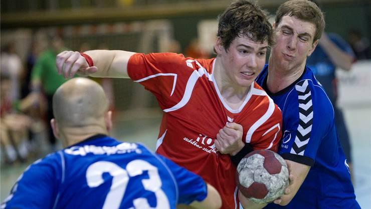 Alain Blaser (M.) spielt wohl künftig im ersten Solothurner NLB-Team.