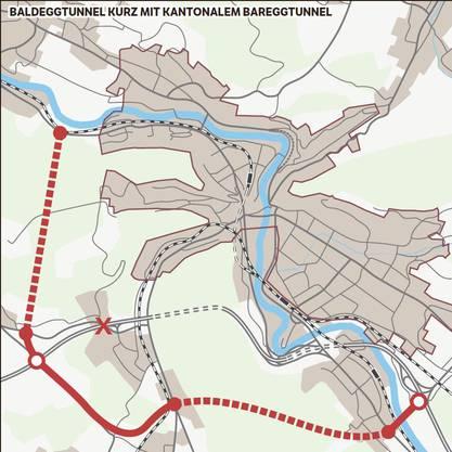 Das hier ist die Grosslösung. Diese weiträumigere Umfahrung der Stadt Baden würde eine kürzere Variante des Baldeggtunnels bis östlich vor Birmenstorf vorsehen sowie ab Anschluss der Umfahrung Fislisbach einen kantonalen Bareggtunnel, der den Verkehr im Limmattal der Nationalstrasse zuführen würde. Diese Variante würde allerdings bedingen, dass die Autobahnanschlüsse verschoben werden müssten.