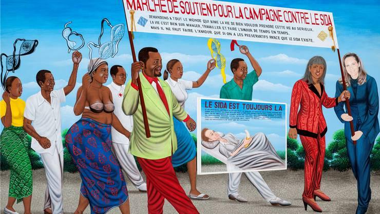 Zu sehen in Zürich: «La Marche de soutien contre le Sida» des kongolesischen Künstlers Chéri Samba. (Teilansicht; das ganze Bild sehen Sie weiter unten im Text)