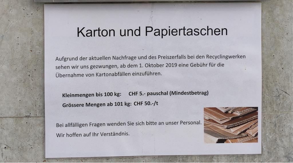 Neu kostet das Entsorgen von Karton bei der Zingg AG in Tübach fünf Franken.