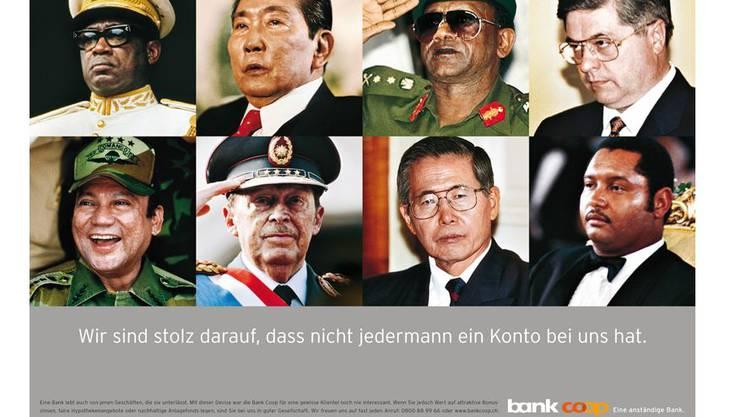 Die Diktatoren-Werbung der Bank Coop im Jahr 2003: «Wir sind stolz darauf, dass nicht jedermann ein Konto bei uns hat.»