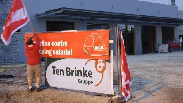 Die Unia wird auf einer Waadtländer Baustelle aktiv