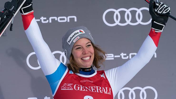 Michelle Gisin freut sich über ihren erfolgreichen Saisoneinstieg