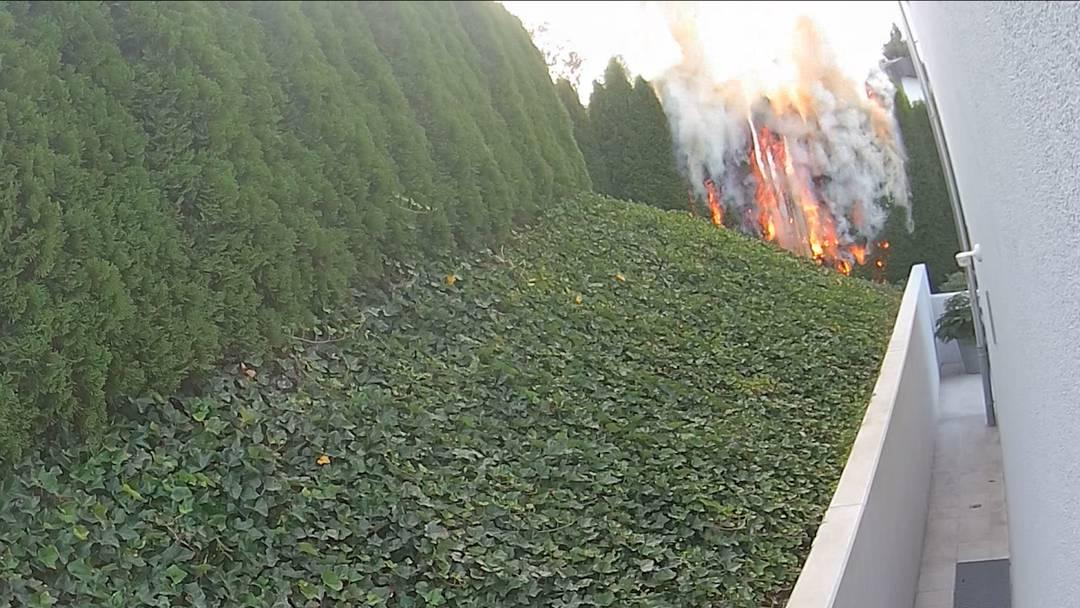 Der Brand der Hecke, aufgenommen von der Überwachungskamera des Klägers – mal im Zeitraffer, mal im Original-Tempo