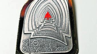 Die Gönner-Fasnachtsplakette 2020 mit goldfarbenem Rand.