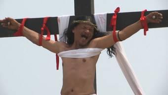 Gläubige Christen lassen sich auf den Philippinen ans Kreuz nageln. Der Schmerz steht ihnen ins Gesicht geschrieben.
