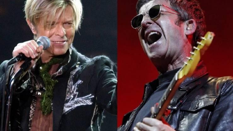 """Ohne David Bowies (l) """"Heroes"""" wäre Noel Gallagher (r) womöglich nie Musiker geworden. (Archivbilder)"""