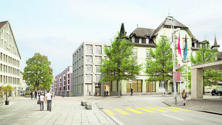 Die Visualisierung zeigt das historische Gebäude der Alten Post mit der geplanten dahinterliegenden Überbauung.