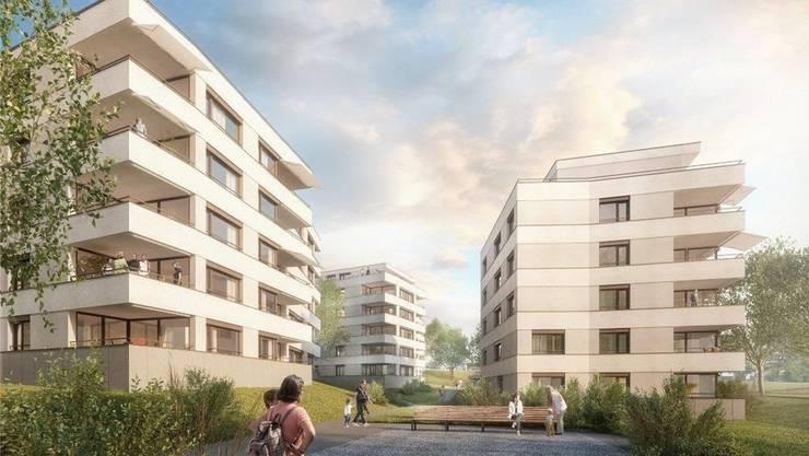 Im Dorfzentrum entstehen sechs Mehrfamilienhäuser, die durch ein öffentliches Wegenetz verbunden sind.