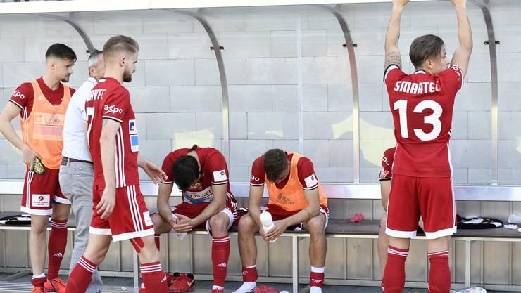 Die gute Ausgangslage aus dem Hinspiel konnte nicht genutzt werden, der FC Baden verliert im heimischen Esp 0:4: Dei den FCB-Spielern herrscht kollektive Enttäuschung.