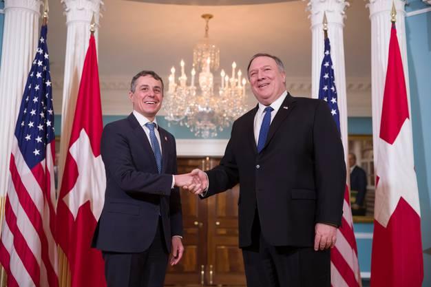 Auf der Weltbühne: Ignazio Cassis mit Mike Pompeo, dem US-Aussenminister unter Donald Trump, im Februar 2019 in Washington.