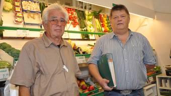 kämpfen für eine «Chrättli»-Zukunft Genossenschafts-Vorstandsmitglied Daniel Günthardt (r.) mit Geschäftsführer Martin Kuhn. (Bild: Silvan Hartmann)