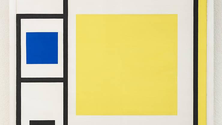 Marlow Moss, Composition White, Yellow. Blue and Black with Black Lines, 1956-57. Das Gemälde der britischen Künstlerin ist vom 9. Februar bis 7. Mai im Museum Haus Konstruktiv in Zürich zu sehen.