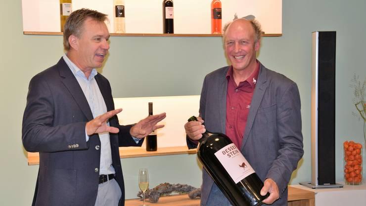 Die Besserstein Wein AG eröffnet das neue Stammlokal im Winkel in Villigen. Die beiden Winzer Andreas Meier (links) und Peter Schödler.