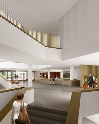 Die Visualisierung zeigt, wie die grosszügige Eingangshalle des Spitals Uster künftig einmal aussehen wird. ZVG