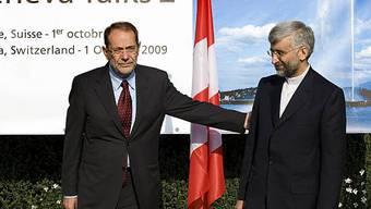 Javier Solana mit Said Dschalili in Genf