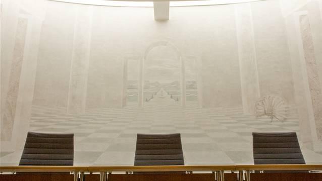 Im Gerichtssaal des Bezirksgerichtes Kulm