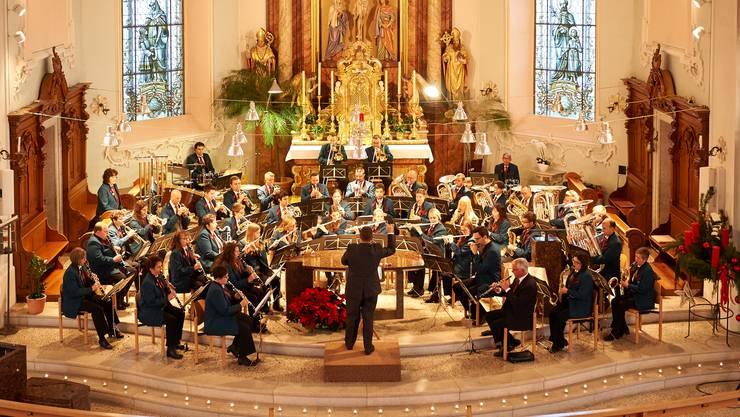 Die Musikgesellschaft Niedergösgen in der Schlosskirche.