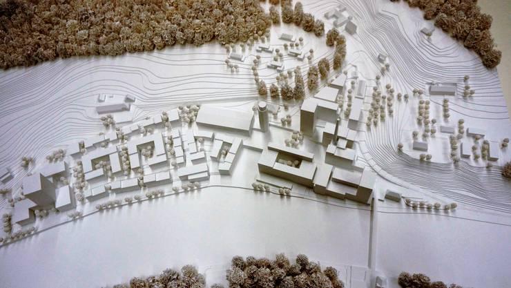 Das Modell zeigt die bis ins Jahr 2045 geplanten Bauten des Richtprojekts für Attisholz Nord.