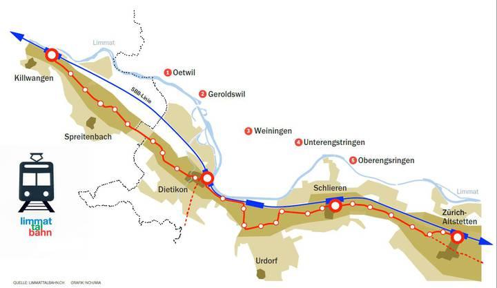 Der geplante Verlauf der Limmattalbahn