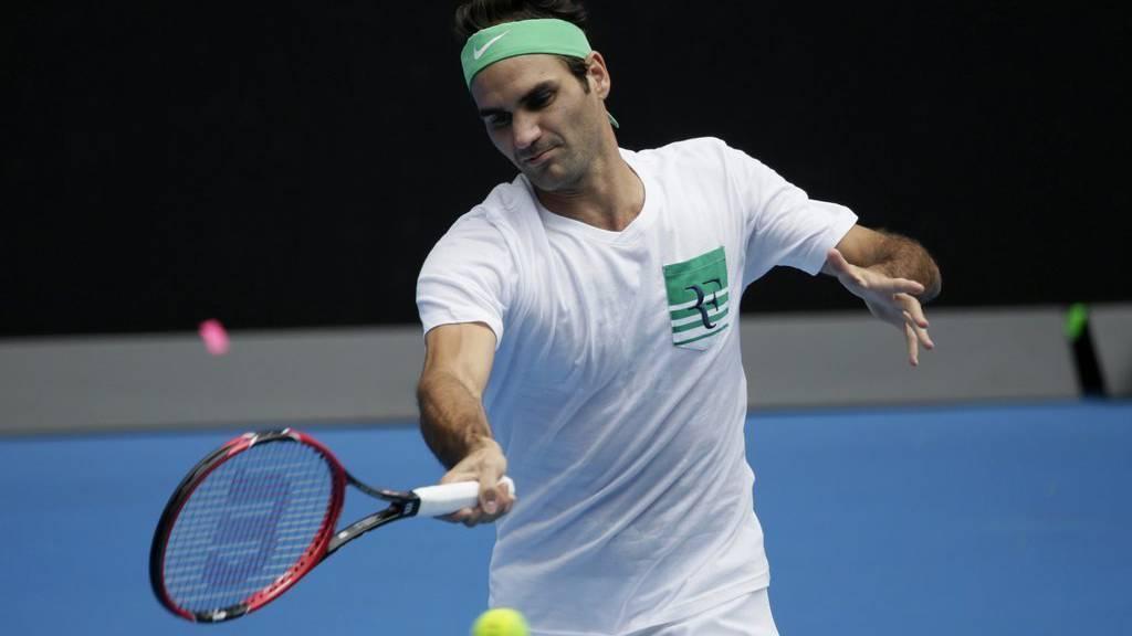 Roger Federer während des Trainings in Melbourne