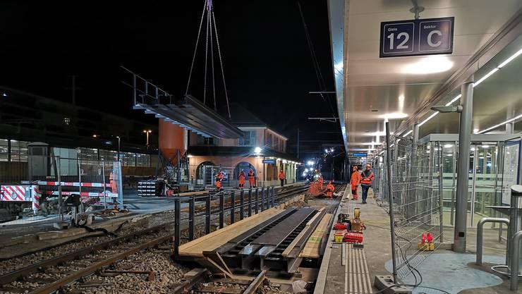 Gleisarbeiten in Aarau.