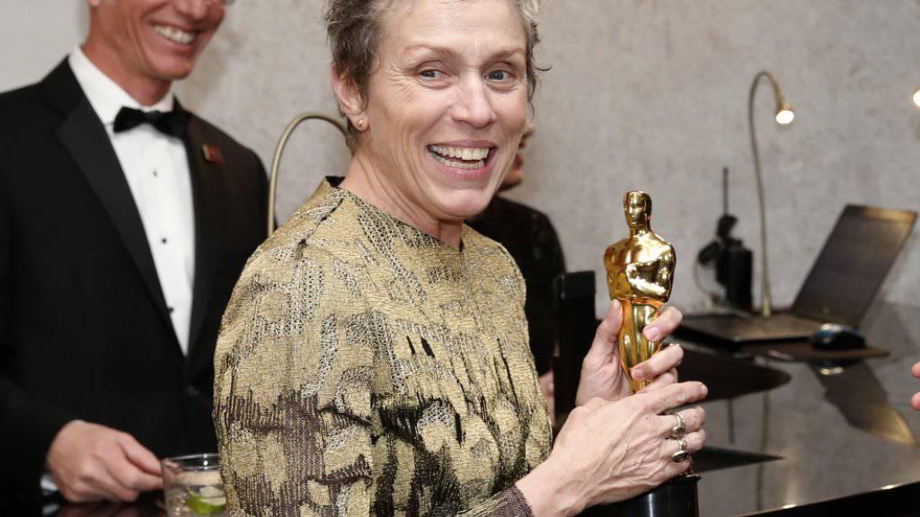 Diese Oscar-Trophäe wurde ihr bei einer Feier nach der Verleihung gestohlen: Schauspielerin Frances McDormand («Three Billboards Outside Ebbing, Missouri»). (Archivbild)