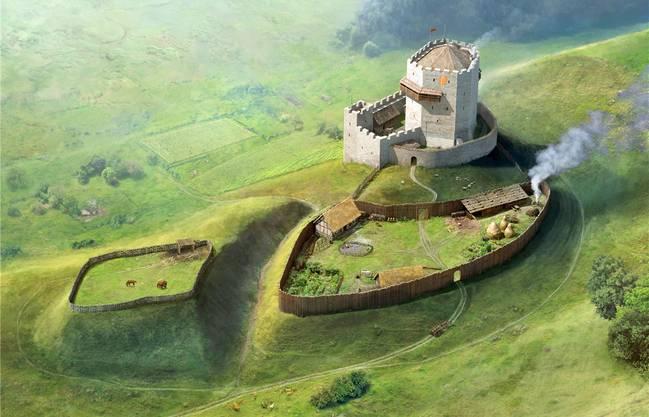Diese Illustration versucht zu zeigen, wie das Schloss Buchegg und seine Umgebung ausgesehen haben könnten. Nachdem die Burg 1383 niedergebrannt wurde, wurde sie nicht mehr aufgebaut.