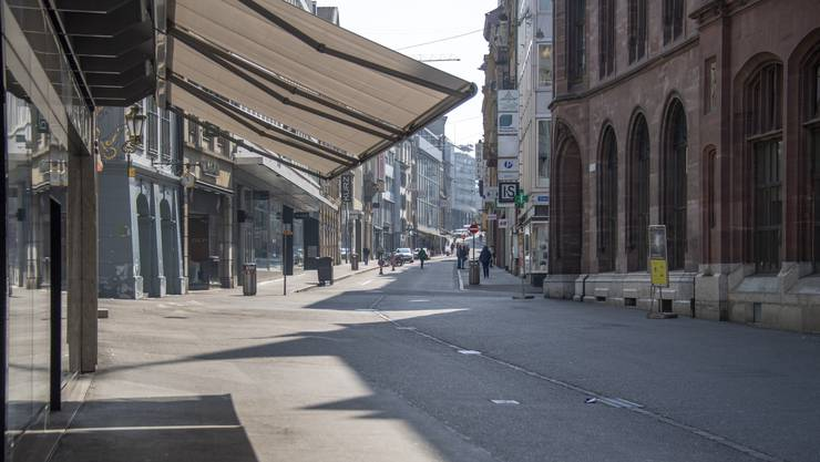 Die leere Freie Strasse in Basel am Freitag.