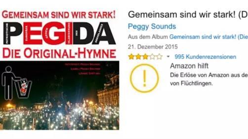 Der Online-Versandhändler Amazon spendet den Erlös aus dem Verkauf der so genannten Pegida-Hymne für einen wohltätigen Zweck. Die Pegida ist eine fremdenfeindliche und anti-islamische Bewegung in Deutschland.