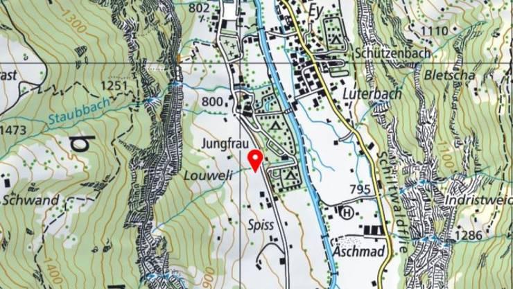 Ausgangs Lauterbrunnen sind am Montagabend rund 1000 Kubikmeter Fels ins Tal gedonnert.