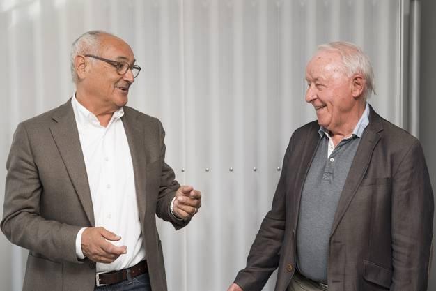 Stiftungsratsmitglied Urs Wiezel mit Stiftungsratspräsident Hans Wiederkehr. Gemeinsam haben sie die Stiftung Punt im Jahr 2015 ins Leben gerufen.
